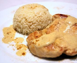 Escalope de poulet et son riz sauce lait de coco - curry (Weight Watchers 8pp)