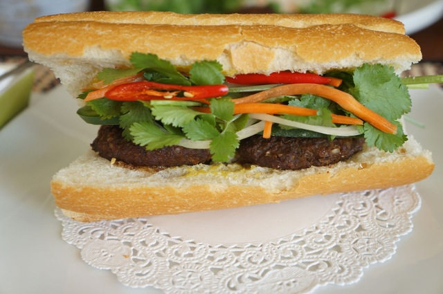 Grilled lemongrass beef sandwich (Banh mi thit bo nuong xa)