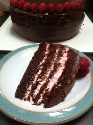 Chocolate and Raspberry Cream Layer Cake