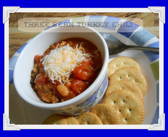 Three Bean Turkey Chili  {Crockpot}