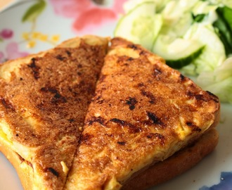 Cheese, Tomato and Bacon Eggy Bread Sandwich for British Sandwich Week