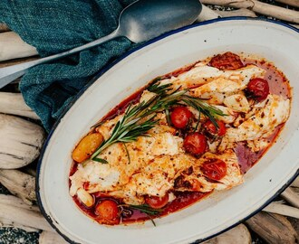Halibut with Spicy Sausage, Tomatoes, and Rosemary