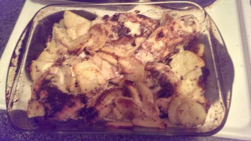 Baked chicken garlic and potatoes recipe and blog review