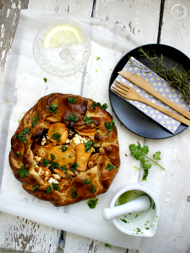 Sweet potato galette with caramelized shallots