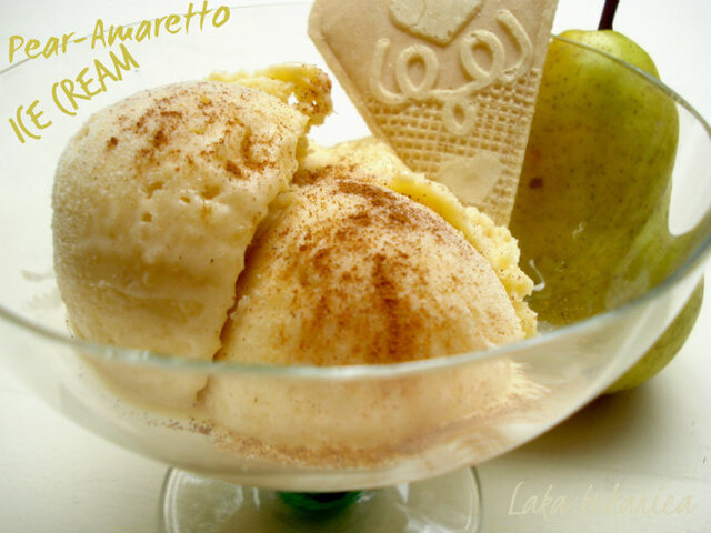 Sladoled od kruške s Amarettom :: Pear and Amaretto ice cream