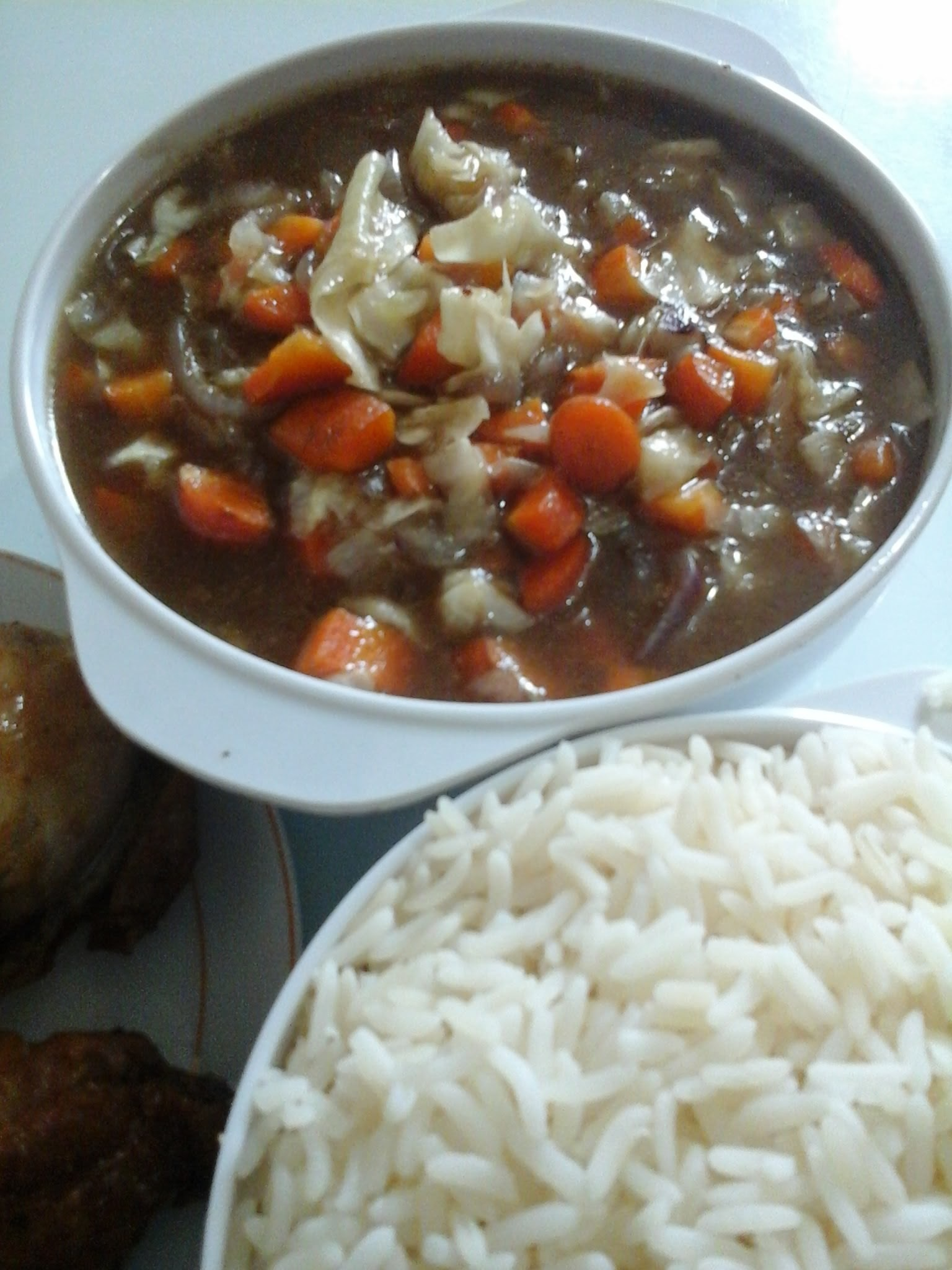 Chicken Stock Gravy with boiled rice