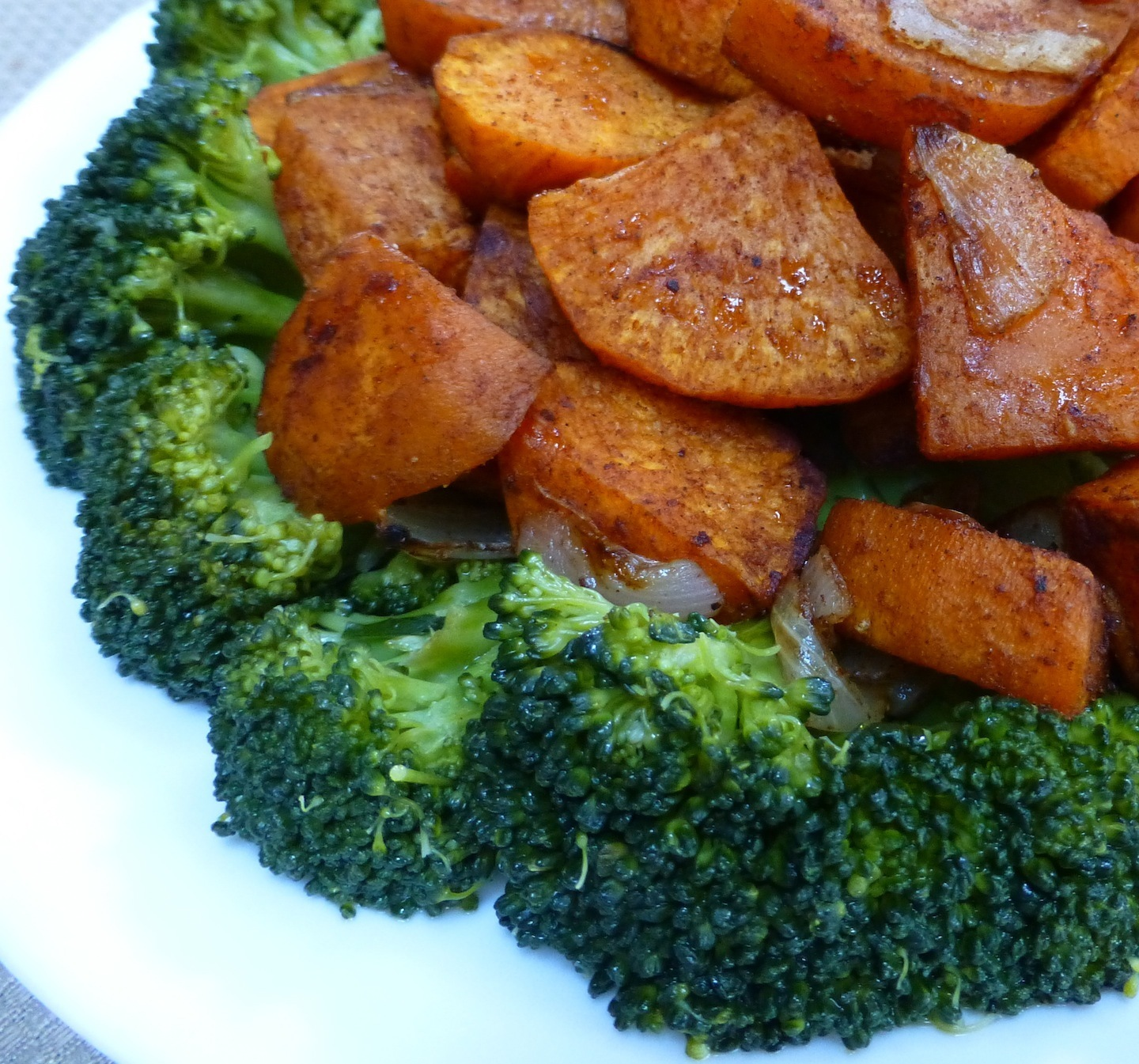 Roasted, Pumpkin Pie Spiced Sweet Potatoes On A Bed Of Broccoli - A Healthy And Colorful Dish For Easter Brunch