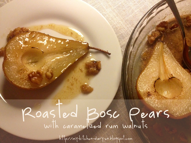 Roasted Bosc Pears and Caramelized Rum Walnuts