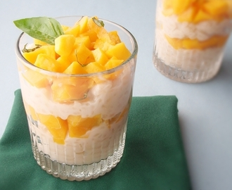 Coconut Rice Pudding Parfait with Mango and Basil