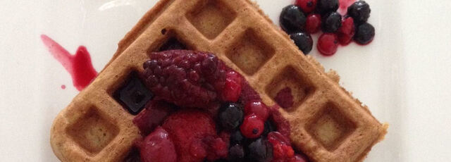 Wafel met warm fruit
