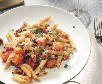 Multi-Grain Pasta with Butternut Squash, Ground Lamb, and Kasseri