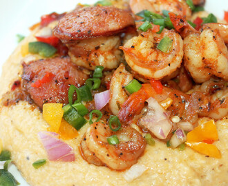 Creole Shrimp and Cheese Grits with Andouille Sausage
