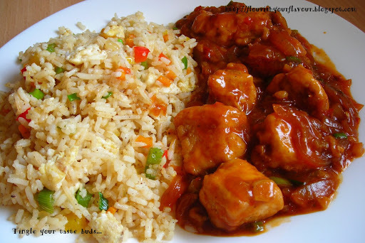 Egg fried rice with Szechuan Chicken