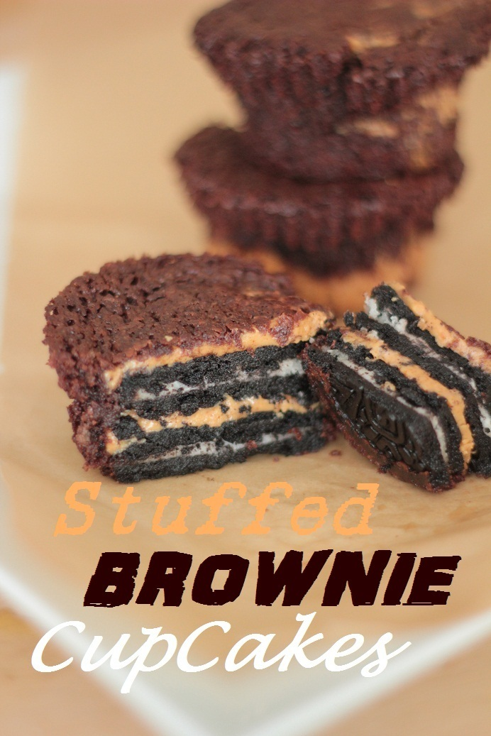 Stuffed brownie cupcakes