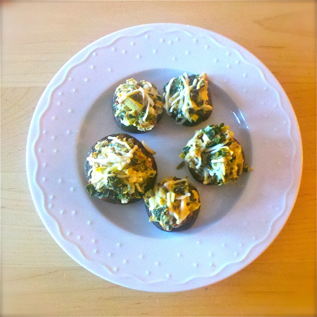 Spinach, Artichoke, and Goat Cheese Stuffed Mushrooms