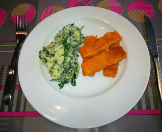 Spinazie puree met fishsticks