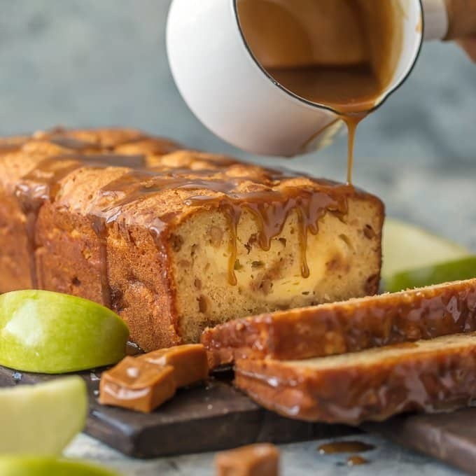 Caramel Cheesecake Stuffed Apple Bread