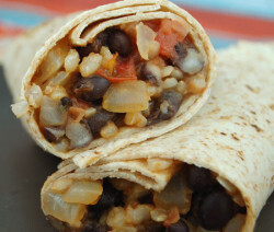 Quick Brown Rice and Bean Burritos