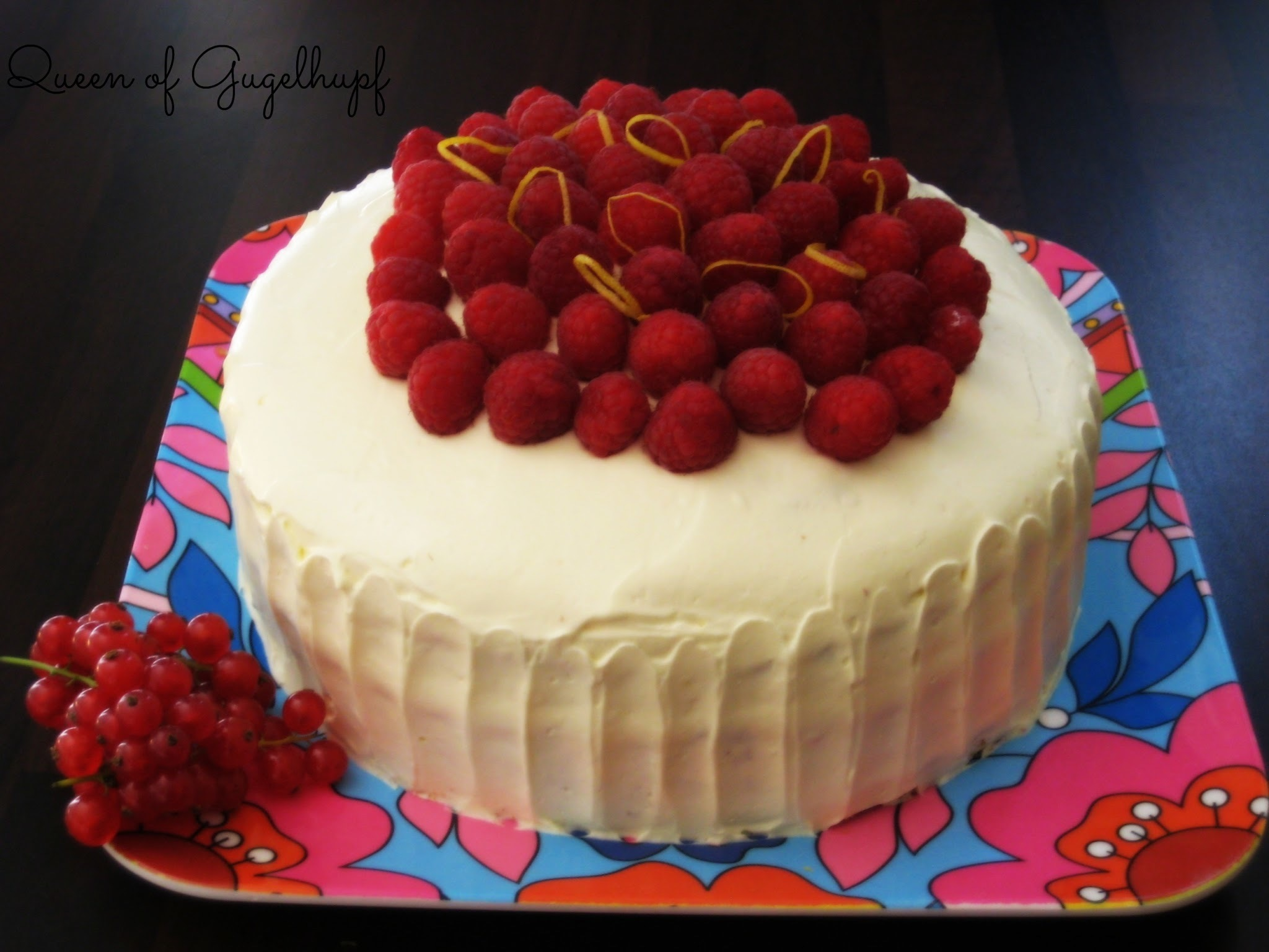 Lemony Red Current Cake with Vanilla Icing