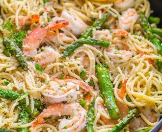 Shrimp Scampi Pasta with Asparagus