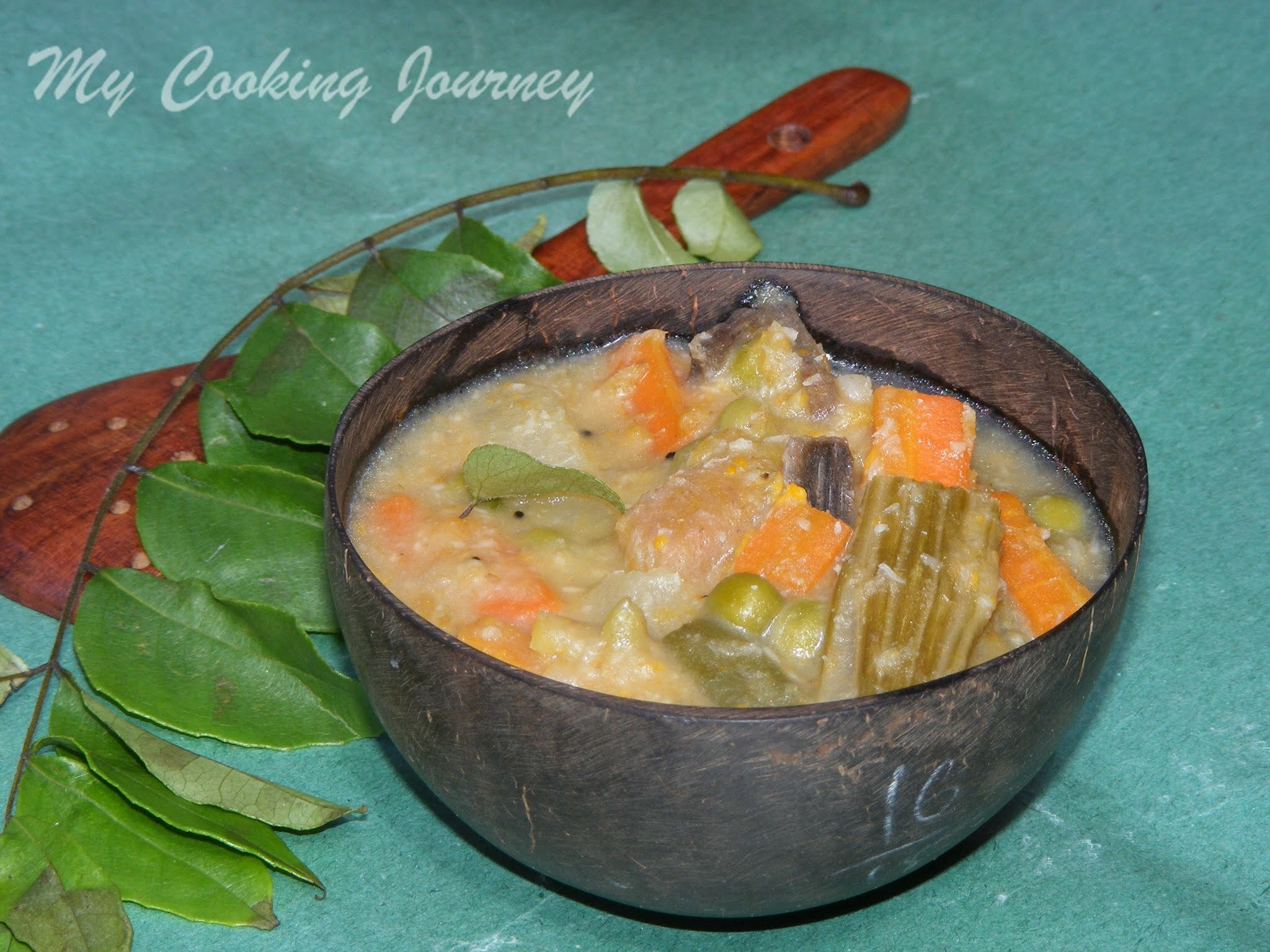Aviyal /Traditional South Indian mixed vegetable stew in coconut based sauce (BM # 27)
