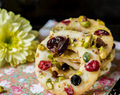 Lemon Cookies with Pistachios, Cranberries and Raisins