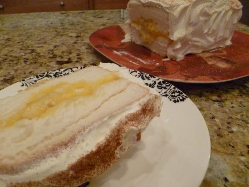 Try this for a quick dessert!!!         Banana and Cream filled Angel Food Cake!