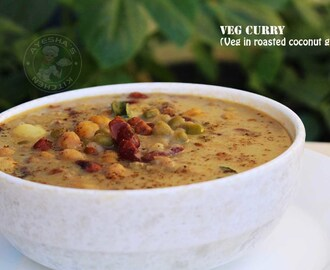 CURRY VEGETARIAN RECIPE - MIXED BEANS IN ROASTED COCONUT GRAVY