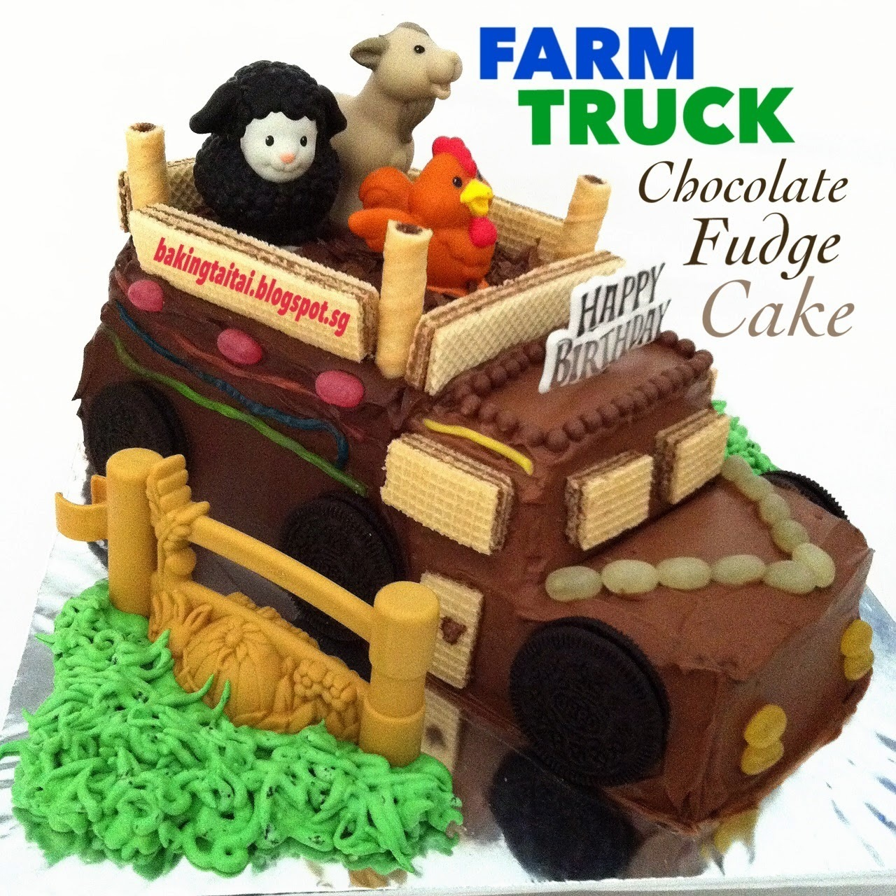 Farm Truck Chocolate Fudge Cake