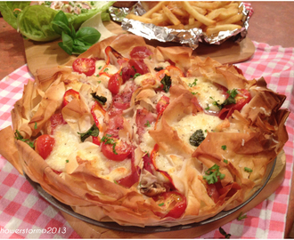 Filo pastry pizza pie.
