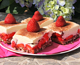 Crispy Strawberry Quark Squares