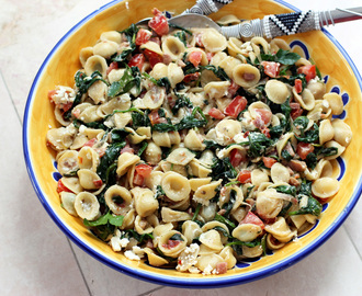 Ham, Spinach and Goat Cheese Orecchiette