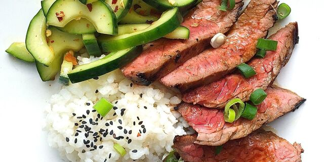 Korean-Style Grilled Flank Steak with Sticky Rice and Spicy Cucumber Salad