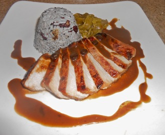 Spiced Java Pork Loin with Jujube Black Sesame Rice