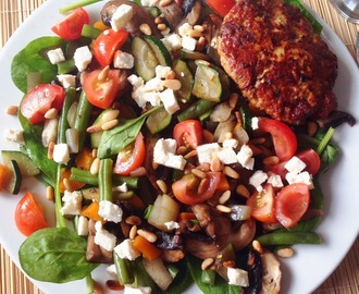 Paleo Spinach Salad with a Chicken Burger