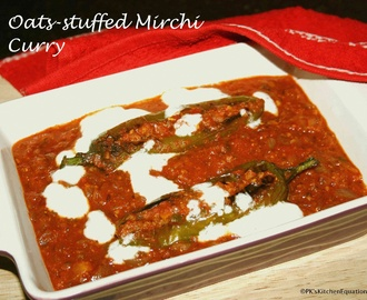Oats-stuffed Mirchi(Green Chili) Curry – Guest Post for Aruna Panangipally of Aharam