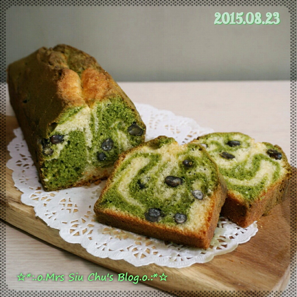 抹茶紅豆大理石牛油磅蛋糕 Green tea and Red bean Marble Pound Cake [Toshiba ER-GD400HK水波爐, 附食譜]