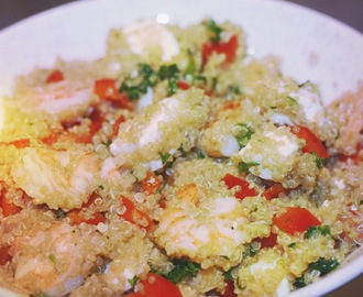 Quinoa with scampi and feta