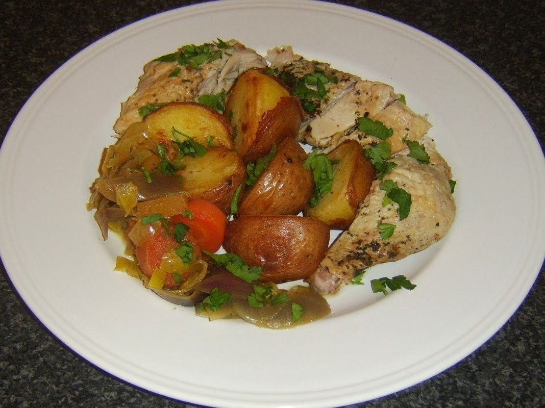 Roast Chicken with Pork, Sage and Onion Stuffing and Deep Fried Red Potatoes