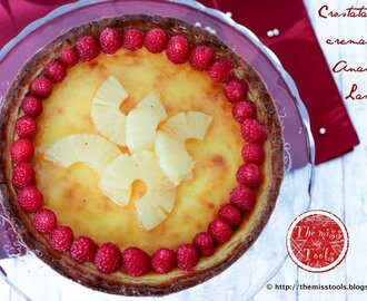 Crostata alla crema cotta, ananas e lamponi  - Baked-Cream tart with pineapple and raspberries
