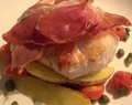 Roasted Cod Loin With Potatoes, Tomatoes, Capers, Crispy Parma Ham and Balsamic Vinegar