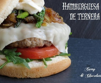 Hamburguesa de ternera a lo Ramsay - Beef burger with asparagus and caramelized onion