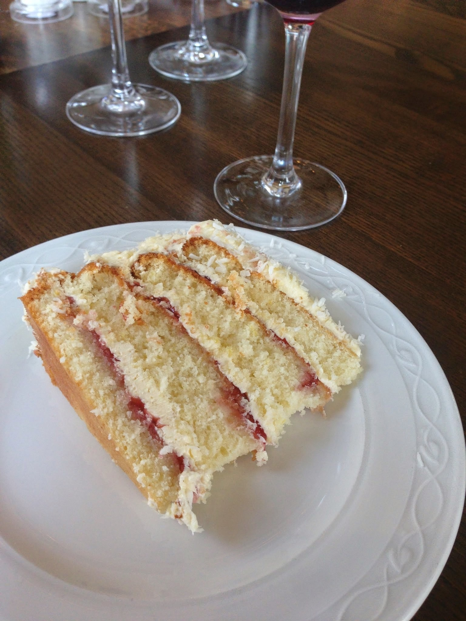 Lemon and Raspberry with Coconut  Birthday Cake