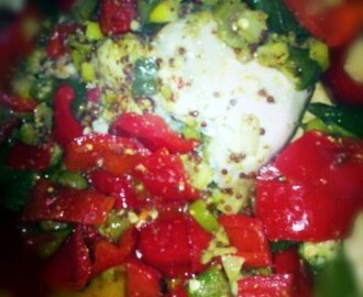 Recipe: marinated chicken with okra and red peppers