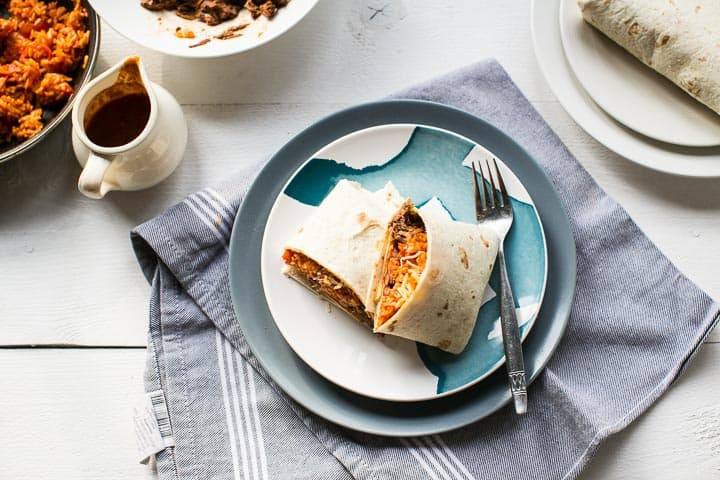 Beef burritos with Mexican rice