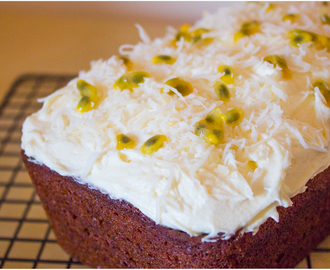Coconut Banana Bread with Passion Fruit Frosting