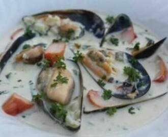CREAMY MUSSELS WITH SMOKED CHICKEN
