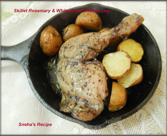 Skillet Rosemary & White Wine Chicken Leg#Baking Bloggers