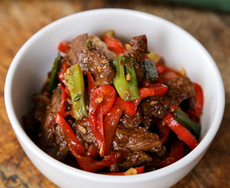 Beef stir fry with spicy hoisin sauce
