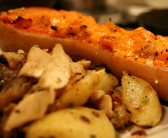 Bacon and cheese stuffed Butternut Squash with Wild mushroom potatoes